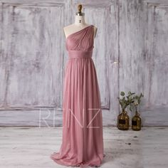 2016 Dusty Rose Bridesmaid Dress Long, Chiffon Maxi dress, Illusion One Shoulder Wedding Dress, Asymmetric Backless Party Dress (T112B)-RENZ