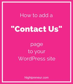 How to add a Contact Us page to your WordPress site