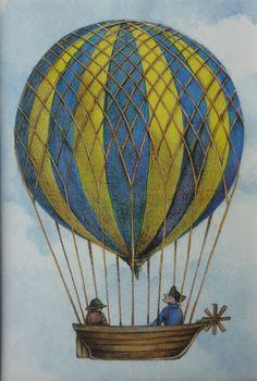 Vintage Hot Air Balloon Print Steampunk Art by PrimrosePrints print one with University of Pittsburgh on basket