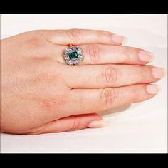 Fantastic 1950s Diamond & Emerald Cocktail Ring in 18k Gold