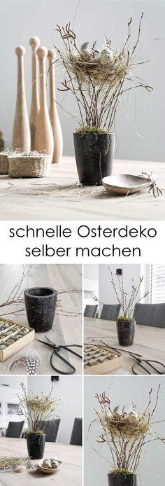 DIY Oster-Deko - noch ein wenig Osterdekoration gefällig? Mit ein paar Resten zauberst du schnell ein Nest! #osterdekoration #DIY #Ostern