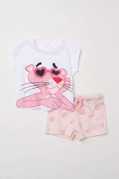 T-shirt and Shorts - Light pink/Pink Panther - Kids Cute Pajama Sets, Cute Pjs, Cute Pajamas, Teen Fashion Outfits, Kids Outfits, Kids Fashion, Rosa Panther, Cute Sleepwear, Jugend Mode Outfits