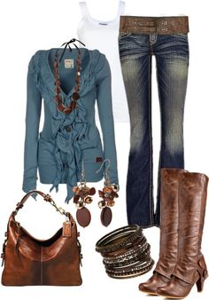 """Brown with Dusty Blue"" by sarah-jones-3 on Polyvore"