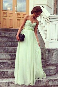A-Linie Herz-Ausschnitt Bodenlang Chiffon Kleid - $99.99