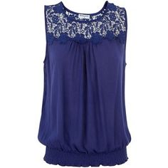 Brave Soul Blue Crochet Trim Sleeveless Top