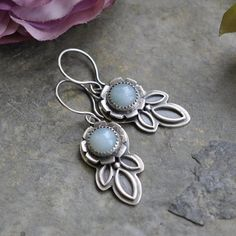 Sterling Amazonite Earrings Oxidised Sterling by christinewalsh, $105.00