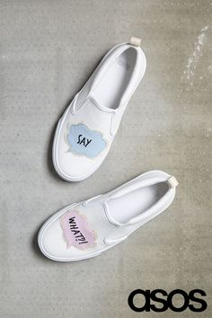Say it loud and say it proud with these chatty slip-on shoes. Pop art is making a sartorial comeback this season and it's going to be BIG. Style with jeans and a tee to keep it chilled, or wear a midi skirt, tee and over-the-top accessories for a more girlish vibe.