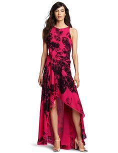 HALSTON HERITAGE Womens Assymeric Hem Dress, Berry, X-Small