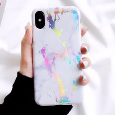 Iphone X White Holo Marble Case