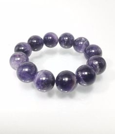 16 mm Natural Purple Amethyst Quartz Sapphire  Beads Stretch Bracelet  #Impressdeal #Bracelet