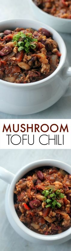 This Vegan Mushroom Tofu Chili is easy, filling and sure to please the whole family! Vegan and gluten-free!