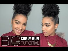 Here's the easiest bun tutorial you'll find! Takes less than 10 minutes and is great for those days when your hair is just. Curly Hair Bun Styles, Curly Bun Hairstyles, Cool Hairstyles, Natural Hair Styles, Easy Bun Tutorial, Curly Hair Tutorial, Weave Bun, Crazy Curly Hair, Bun Tutorials