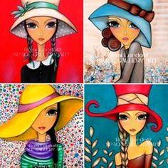 Lady by Romina Lerda Art - Romina lerda, born in Cordoba, Argentina in 1977 Art Pop, Fabric Painting, Painting & Drawing, Whimsical Art, Medium Art, Face Art, Mixed Media Art, Painted Rocks, Art Girl
