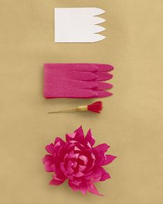 Use 32 inches of petals (get the template below) and a fringe stamen. Attach strip, placing end a little low on stamen and pleating bottom edge as you wrap, gradually bringing strip higher on stamen. Cup each petal inward, then curl inward; pinch each tip to give it a crease.