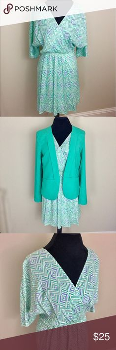 Everly Mint Green Dress and Blazer Bundle Bundle Of Two items shown. Everly size medium mint green dress with multicolor detail. Like new condition. Boutique brand matching mint green Blazer in size large. Excellent condition. ⚓️ No trades or holds. I negotiate only through the offer button. Any measurements listed are approximate since I am not a seamstress. 🚭🐩HB Everly Dresses Midi