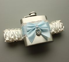 Lucky Horseshoe Satin & Lace FLASK GARTER - Ivory and Blue - Wedding Bridal Garter -- Ready to Ship. $40.00, via Etsy.