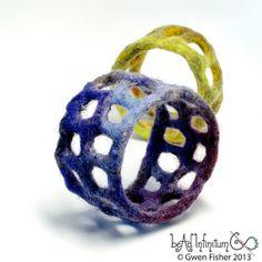 Textile Bangle Bracelet No. 45 Purple Wet Felt with Merino Wool Silk - nice texture
