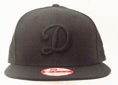 """Los Angeles Dodgers New Era """"D"""" Black on Black Snapback 950 - allaccesssports365.com"""