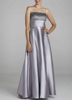 Lace and Satin Bolero Jacket Dress - David's Bridal- mobile