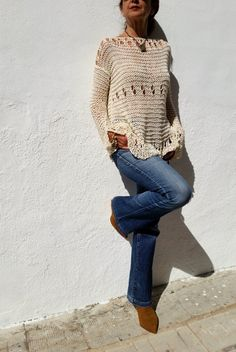 Cotton cream sweater for woman, hand knitted cream lace jumper por EstherTg