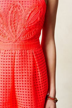 Embroidered Coral Dress