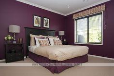 Plum x Black x Tan x White Bedroom