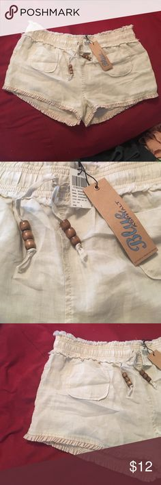 NWT blue asphalt shorts Brand new with tags still attached! Size large shorts, tan/cream in color. Perfect condition! Great for summer & creating cute boho outfits! Blue Asphalt Shorts