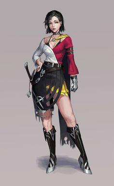 Swordsman, Cotta - on ArtStation Female Character Concept, Fantasy Character Design, Female Character Design, Character Design References, Character Design Inspiration, Character Art, Dnd Characters, Fantasy Characters, Female Characters