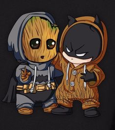Chibi Batman and baby Groot - Sup? Chibi Batman and baby Groot - Cute Disney Drawings, Cute Animal Drawings, Kawaii Drawings, Cute Drawings, Memes Batman, Funny Batman, Batman Batman, Batman Chibi, Baby Batman