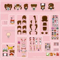 Buy Chibi Characters Creation Kit vol. 1 by pzUH on GraphicRiver. With this kit you can create your own chibi characters. Combine each items to get your desired character. Paper Dolls Clothing, Barbie Paper Dolls, Paper Dolls Book, Vintage Paper Dolls, Paper Toys, Festa Monster High, Diy Paper, Paper Crafts, My Little Pony Coloring