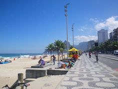 Looking west along the distintive sidewalk bordering Ipanema Beach