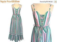 Post Etsy Items on Pinterest Long Summer Dresses, Summer Maxi, Vera Mont, Dresses For Sale, Dress Sale, Hippie Festival, Folk Fashion, Color Stripes, Cotton Lace