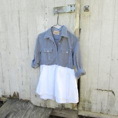 upcycled clothing / eco fashion / romantic ruffled cropped shirt   by CreoleSha (could take a white mens dress shirt and combine with linen or organza from old dress / table cloth for a white on white version)