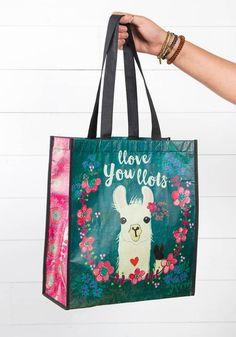 Natural Life Llove You Llots Llama Gift Bag Made From Recycled Water Bottles Llamas, Tote Bags For College, Llama Gifts, Shopping Totes, Reusable Bags, Natural Life, Gift Bags, Cute Gifts, Bag Making