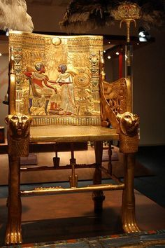 Tutankhamun's throne. Tutankhamun was an Egyptian pharaoh of the dynasty (ruled ca. 1332 BC – 1323 BC in the conventional chronology), during the period of Egyptian history known as the New Kingdom. He is popularly referred to as King Tut. Ancient Artifacts, Ancient Egypt, Ancient History, Ancient Aliens, Ancient Greece, Historical Artifacts, Historical Monuments, Art Ancien, Tutankhamun