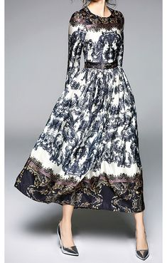 Looking for a stylish dress that doesn't compromise modesty? Cody is a long sleeved A-line maxi dress with slim waist that features a gorgeous baroque-inspired print. Perfect for formal or dressy events, it complements your shape without showing off your curves. Order yours before they're gone!