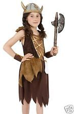 Girls 4-12 Viking Anglo Saxon Celtic Warrior Fancy Dress Costume + - Helmet 4-12