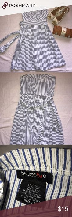 Nautical ⚓️ Sweetheart Neckline Strapless Dress Beautiful dress in EUC. Zipper back with sash. Noticed one faint mark on front of dress, likely to come out in wash (but sold as is), see photo #4. Barely visible in full sunlight- but mentioning for comprehensive listing details! (Purse/shoes not included) Teeze Me Dresses Strapless