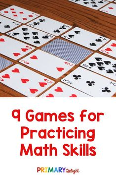 Math games are a fun way to for kids review math skills in kindergarten and first grade. Play these classic games with a deck of card or dice at home or in school. The games practice number recognition, number sequence, addition, subtraction and more. Kids in 1st grade and 2nd grade will have so much fun, they won't realize they are learning! #MathGames #KindergartenMath #FirstGrade Math #PrimaryDelight