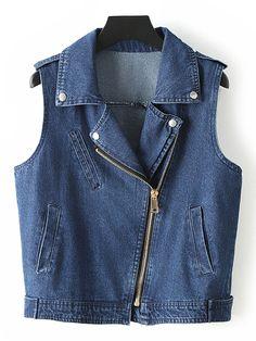Blue Sleeveless Lapel Pockets Oblique Zipper Denim Jacket.