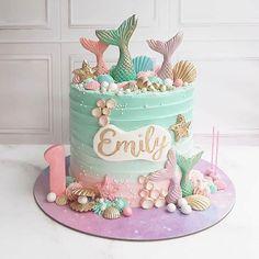 Mermaid Birthday Cakes, Baby Birthday Cakes, Little Mermaid Cakes, 5th Birthday, Birthday Ideas, Cupcakes, Cupcake Cakes, Sirenita Cake, Bolo Neon