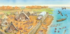 Ancient Europe - Q-files EncyclopediaIn this Bronze Age trading settlement, the chieftain is meeting a trading boat from another tribe. Others are building boats, making bread, drying fish and spinning cloth.