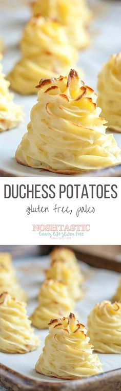 Pretty, piped, Duchess Potatoes! easy but fancy baked mashed potatoes. They are Gluten Free, vegetarian and paleo.