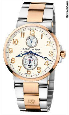Ulysse Nardin Maxi Marine Chronometer 1846 Steel and Gold #UlysseNardin #watch #watches #luxury #chronograph gold/steel case with rose gold bracelet and automatic movement