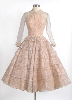 """1950's Maxwell Shieff Lace and Net Evening Dress, high-end and well made, bodice lined with a peach rayon with boning.  Labels read, """"Maxwell Shieff, Beverly Hills"""" and """"Bramson, Oak Park, Evanston, Chicago, Palm Beach."""""""