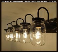 FOUR bulbs of LIGHT all at 60 watts for cool Mason Jar Lighting Fixtures! * 30 Wide x High Backer Plate * Clear Heavy Quart Mason Jars * Projects 9 out from the wall x 10 Overall height * Rustic Bathroom Lighting, Rustic Bathrooms, Rustic Lighting, Bathroom Wall Decor, Wall Sconce Lighting, Bathroom Ideas, Family Bathroom, Vanity Lighting, Bathroom Interior
