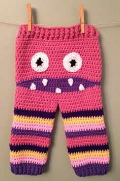Crochet Monster Pants Pink and Purple by BranchsCreations on Etsy