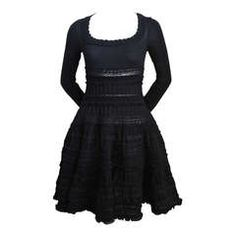 AZZEDINE ALAIA jet black lightweight wool knit dress with lace panels
