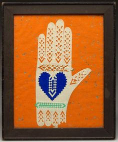 AMERICAN CUT-AND-WOVEN PAPER HEART-IN-HAND LOVE TOKEN : Lot 278
