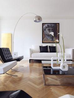 Arco Floor Lamp by Achille Castiglioni for FLOS Arco Lamps, Home Interior Design, Floor Lamps Living Room, Modern Home Interior Design, Interior Design, Mid Century Modern Interiors, Lamps Living Room, Livingroom Layout, Arco Floor Lamp